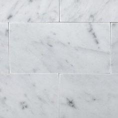 Carrara Marble Bathroom, Carrara Quartz, White Marble Bathrooms, Marble Subway Tiles, White Master Bathroom, Marble Showers, Marble Mosaic, Bathroom Wall, Bathroom Interior