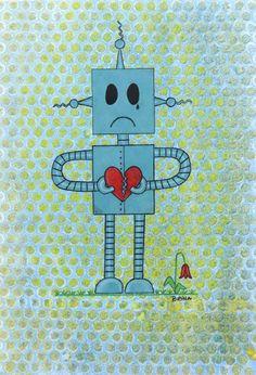 Sad Robot - Watercolor & Colored Pencil by Brina Beury #art #illustration #robot