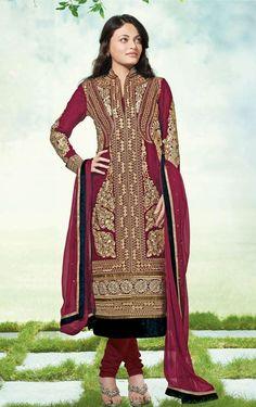 Sneha Ullal Maroon Silk Jacquard Semi-Stitched Dress Material