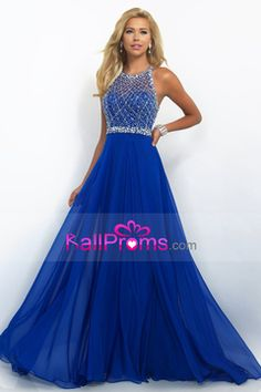 2016 A Line Prom Dresses Halter Beaded Bodice Open Back Sweep Train Chiffon & Tulle US$ 169.99 BAP5DFKP33 - BallProms.com
