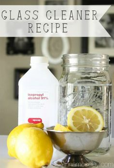 HOMEMADE GLASS CLEANER:  3 tablespoons Lemon juice 1/2 cup Rubbing alcohol Water (add a tablespoon white vinegar, optional)