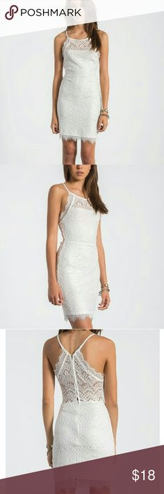 """Sans Souci Lace Dress Beautiful white lace with eyelash lace trim. Button-up racerback style with partial zip skirt. Fully lined. 16"""" (flat) elastic waist. 25"""" length from armpit. Ready for your special event! Bought at Nordstrom and worn once. Sans Souci Dresses"""