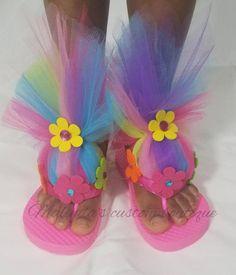Trolls style flip flops trolls hair flip flop by TutusbyMalinda