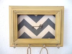 Key Holder Wall Hook Chevron Frame Organizer French Country Home Decor 4 Silver Hooks- House warming gift-Ready to Ship. $18.50, via Etsy.