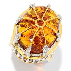 159-537 - Gems en Vogue Italy 25 x 18mm Baltic Amber High-Set Vatican Ring