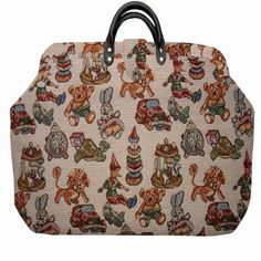 ArtisanStreet's Toys Whimsical Tapestry Carpet Bag with Matching Shoulder Strap Limited Edition. Use as Overnight Bag or Even as a Briefcase $225.0