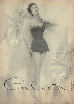 Enchanting 1950s swimsuit loveliness from Caltex. The scallops are so darling!