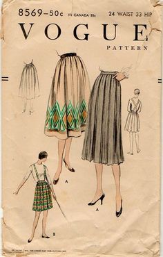 1950s Box Pleated Skirt with Suspenders Vogue Pattern Vintage 1950s Waist 24. $7.99, via Etsy.    Great example of pressed vs. soft box pleats.