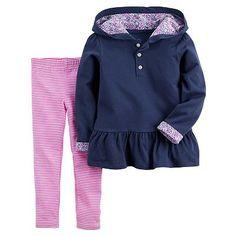 Carter's Peplum Hoodie & Striped Leggings Set - Baby Girl