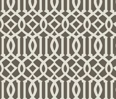 Imperial Trellis-Taupe-Large fabric by melberry on Spoonflower - custom wallpaper