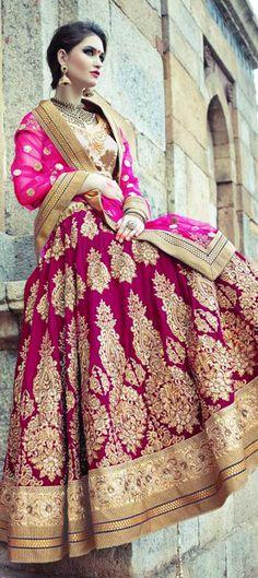 156768: PRETTY IN PINK: this bridal #lehenga will set your heat beat up - Order!  #IndianWedding #BridalWear #ValentinesDay #OnlineShopping #IndianFashion