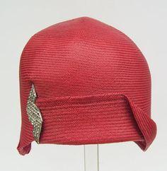 Vintage1920s Red Panama Flapper Womans Cloche Hat