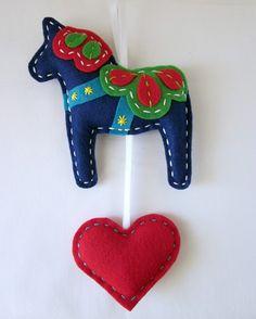 Eco Felt Dala Horse Plush Wall Hanging Cute MADE by lovahandmade