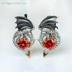 INSPIRED by GAME of THRONES dragon earrings lever back sterling silver 925 Drachen Ohrringe draak oorbellen pendientes drag�n
