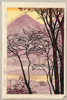KASAMATSU Shiro(笠松紫浪 Japanese, 1898-1991?)Remaining Light at Minakami  残燈 上州水上 Woodblock print via
