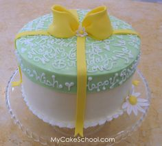 How to Make a Cake with a Frosted Lid- Free Tutorial by MyCakeSchool.com!