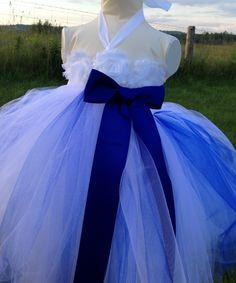 Sapphire blue wedding flower girl dress