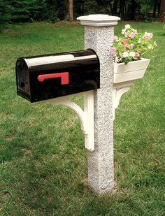 New Hampshire Grey Granite Mailbox Post in Pineapple finish with Black Mailbox, White Wood Brackets & Flower Box