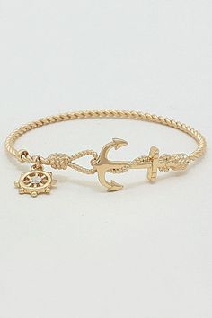 Nautical Cable Bracelet in Gold