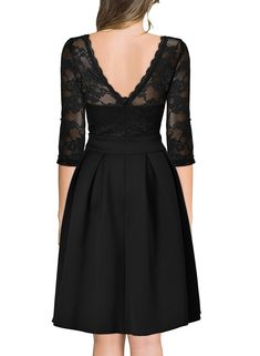 Miusol Women's Vintage Floral Lace 2/3 Sleeve Cocktail Party Dress