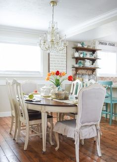 Spring Tablescape - Start at Home Decor Dining Area, Dining Table, Dining Room, Dining Furniture Sets, Wood Furniture, White Kitchen Decor, Farmhouse Table, Cottage Farmhouse, Large Homes