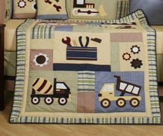 road building machines machinery dump big trucks construction baby crib nursery themes bedding sets