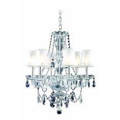 Princeton 6 Light Crystal (Clear) Chandelier in Chrome Finish 7836D20C/RC+SH