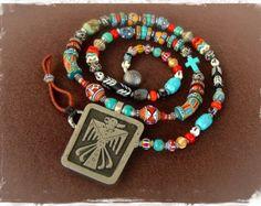 Native American THUNDERBIRD necklace Vintage Bell Trading Double sided pendant Tribal Afro beaded necklace Southwest Spiritual Faith GPyoga