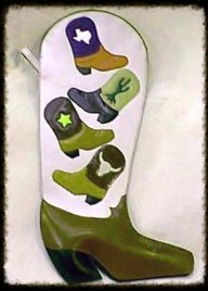 Cowboy boot Christmas stocking. Hand made by Texas Leatherworks