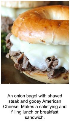 Steak and Cheese Bagel Sandwich. An onion bagel with shaved steak and gooey American Cheese. Makes a satisfying and filling lunch or breakfast sandwich. Best Bagel Sandwich Recipe, Bagel Breakfast Sandwich, Bagel Recipe, Best Breakfast, Sandwich Recipes, Breakfast Dishes, Breakfast Ideas, Sandwich Ideas, Brunch Ideas