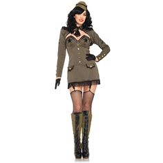 Sexy Pin Up Army Girl Adult Costume - http://www.costumedepot.joystin.com/sexy-pin-up-army-girl-adult-costume/