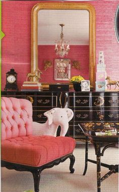 Lovin' this room; the pink chair, especially. In the PINK…Honeysuckle Pantone IT color of the year 2011
