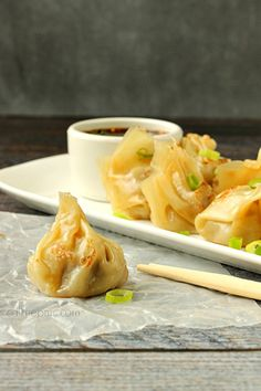 Fill your plate with EAsy Pork Pot Stickers they're are stuffed with pork and vegetables.  (I'd make mine with chicken)
