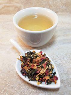 Floral Green Loose Leaf Tea Blend-Organic Dao Ren by CamilleLaLune #OrganicGreenTea #LooseLeafTea #FloralTea #RedRosePetals #RomanticTea #FolkMedicinalTea