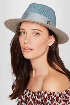 Maison Michel - Thadee Grosgrain-trimmed Two-tone Straw Hat - White - S