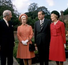 The Queen with Prime Minister Edward Heath and American President Richard Nixon and his wife Pat Nixon at Chequers in October 1970 (PA)
