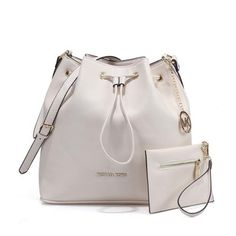 Fashion Michael Kors Jules Drawstring Leather Medium White Shoulder Bags Online!