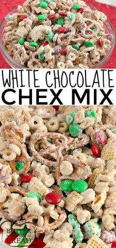 Low Carb Recipes To The Prism Weight Reduction Program White Chocolate Chex Mix Is Made With Cereal, Pretzels, Peanuts And M&Ms All Coated In White Chocolate. This Easy Chex Mix Recipe Is Salty And Sweet And Comes Together In Less Than 5 Minutes Christmas Snack Mix, Holiday Snacks, Christmas Baking, Christmas Desserts, Holiday Recipes, Party Snacks, Christmas Candy, Christmas Treats, Snack Mix Recipes