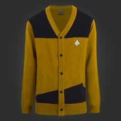 Star Trek Gold TNG Cardigan || I could probably knit this using a basic cardigan pattern. Would need to figure out something for communicator pin though