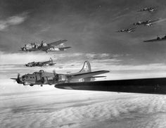 """U.S. Army Air Forces Boeing B-17G Flying Fortress bombers of the 381st bomb Group from RAF Ridgewell, enroute to a target over occupied Europe. The aircraft marked """"VE"""" belong to the 532nd Bomb Squadron, the ones marked """"MS"""" to the 535th BS. In front is B-17G-20-BO 42-31443 . This aircraft was shot down by German fighters on mission to Oschersleben on 22 February 1944. The plane was shot down by fighters near Munster in Germany on 22 February 1944 and crashed near Bielefeld."""
