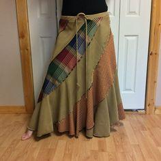 Gold Gingham & Plaid Long Full Spin Swirl Skirt Heavy by sewsomer