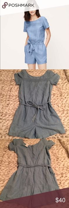 NWT Ann Taylor Loft Chambray Romper With Bow Brand new with tags Ann Taylor Loft size 8 Chambray Rompers! Soooo cute! With pockets on both sides. Has a bow in the front! Too cute! Perfect for spring or summer! LOFT Pants Jumpsuits & Rompers