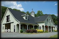 """www.kingbarns.com  King Construction .. Beautiful mint green """"live in"""" barn with horse stalls!"""
