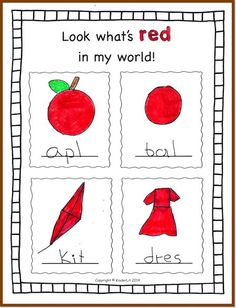 Colors In My World is a great journal for enriching color identification in kindergarten!  There are two different sets of pages, one with 4 boxes and a line for labeling the object and one with two boxes and lines for writing  narrative sentences about the objects.  ($)
