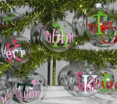 Personalized Christmas Ornament by DottedZebraBoutique on Etsy Personalized Christmas Ornaments, Diy Christmas Ornaments, Christmas Projects, Holiday Crafts, Christmas Bulbs, Christmas Decorations, Christmas Vinyl, All Things Christmas, Christmas Holidays