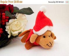 Monkey Wearing  Santa Hat Christmas Ornament Stuffed Zoo