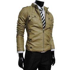 Mens luxury strap pocket slim faux leather jacket