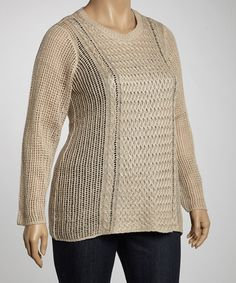 Take a look at this Heather Stone Open Knit Sweater - Plus by Allie & Rob on #zulily today!