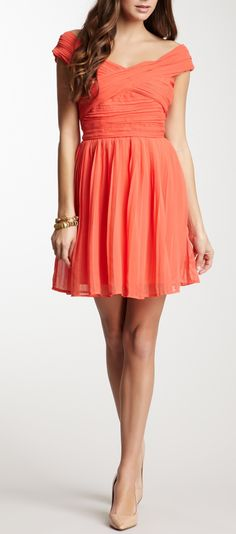 Coral off the shoulder dress - pair with nude heels