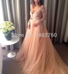 Find More Prom Dresses Information about plus size long sleeve prom dresses puffy champagne tulle Deep v neck autumn dress PA 0172 zuhair murad women party dresses,High Quality dress up pageant girls,China dress with back zip Suppliers, Cheap dress spin from Ada's Shop 2014 on Aliexpress.com